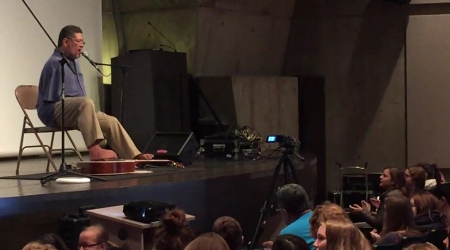 Tony Melendez performs for St. Johns Prep students